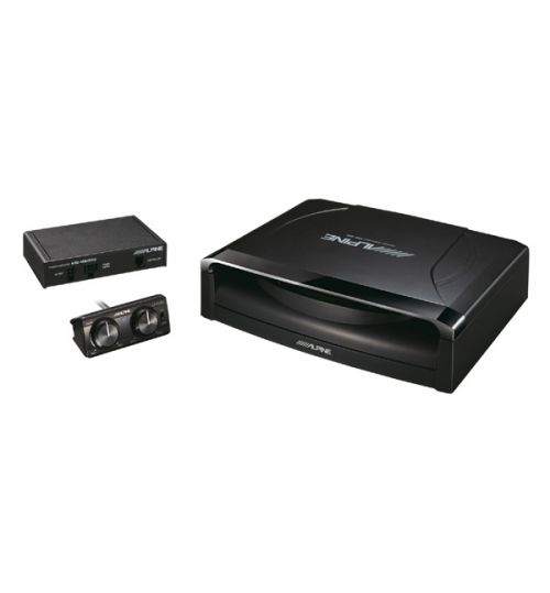 """Alpine SWE-1200 - 8"""" 20cm Amplified Subwoofer Bass Box with Wired Remote Controller"""