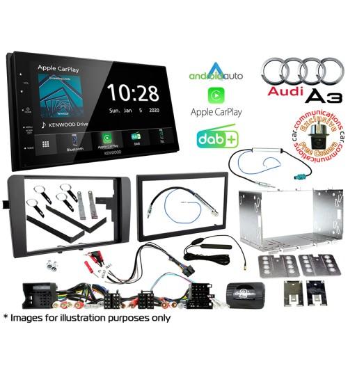 Kenwood DMX5020DABS Car Audio System & Complete Audi A3 Stereo Fitting Kit Bundle CTKAU01