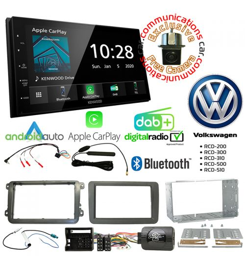 Kenwood DMX5020DABS Car Audio System & Complete Volkswagen Stereo Fitting Kit Bundle
