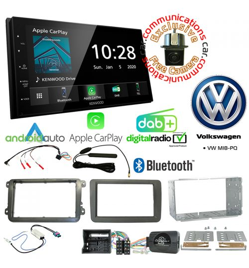 Kenwood DMX5020DABS Car Audio System & Complete Volkswagen Stereo Fitting Kit Bundle - MIB-PQ