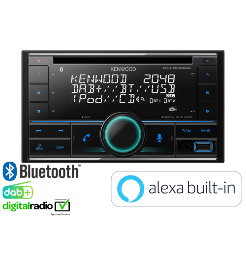 Kenwood DPX-7200DAB Car Audio Entertainment System featuring CD DAB+ Bluetooth & Amazon Alexa Ready