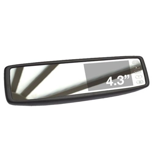 """MotorMax 4.3"""" Anti Glare Mirror Monitor with 2 AV inputs"""