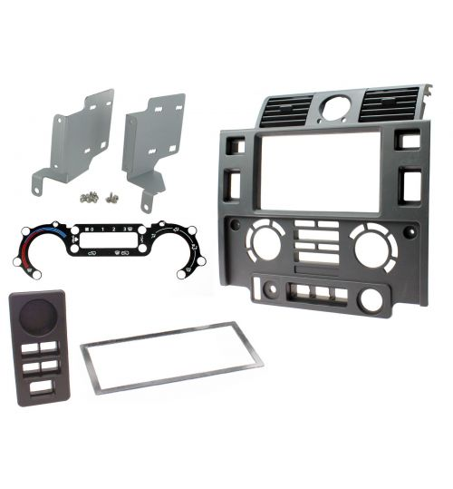 Connects2 Double Din Fascia Fitting Kit For Land Rover Defender Matt Black - CT23LR07