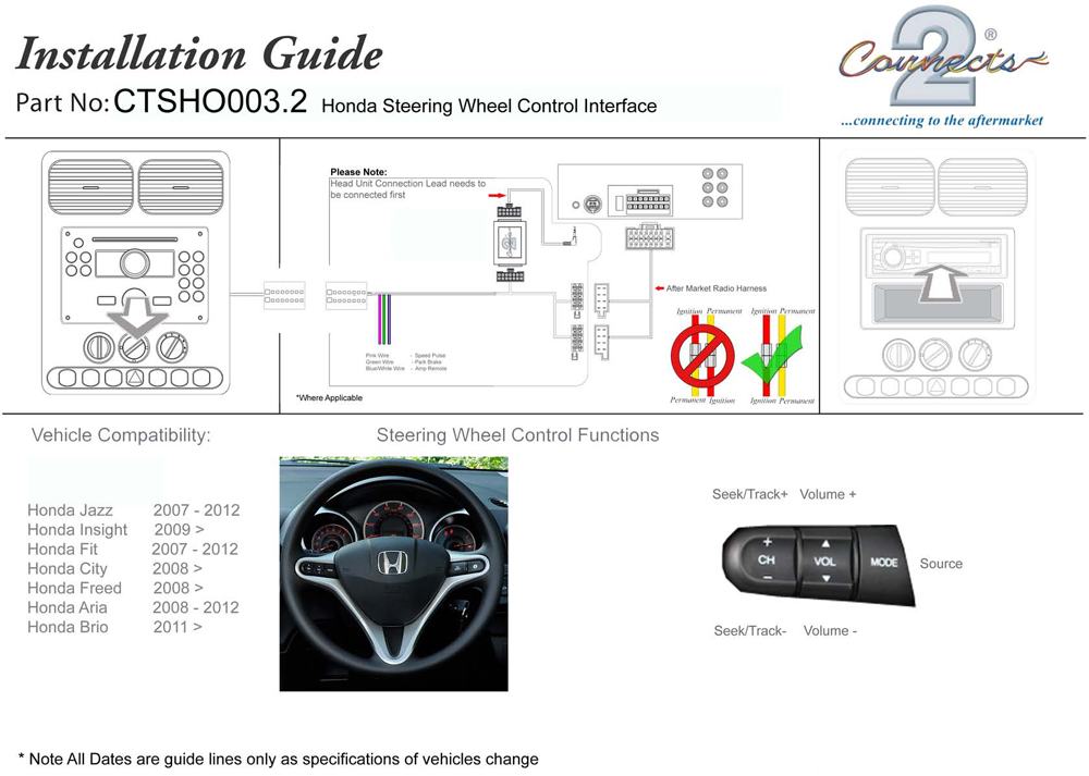 Connects2 steering wheelstalk interface for honda ctsho0032 if you are unsure at anytime please contact us via the ask a question link at the top of this page or telephone us and we will gladly assist you swarovskicordoba Gallery