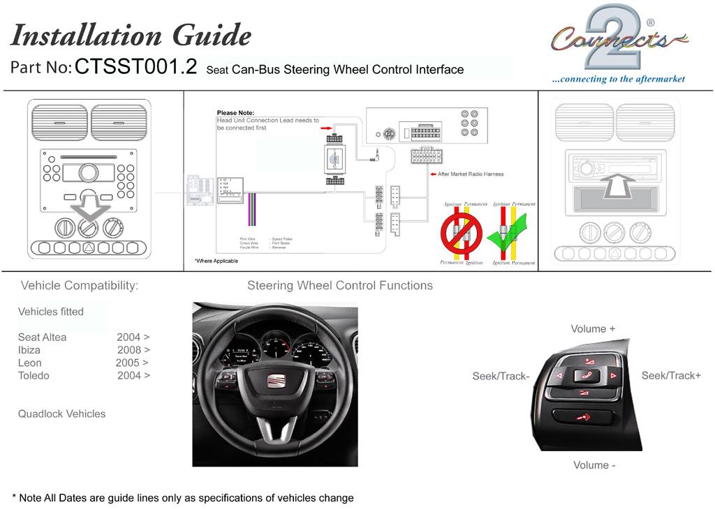 CTSST001.2 Pioneer Steering Control Adaptor For Seat Altea Ibiza Leon Toledo