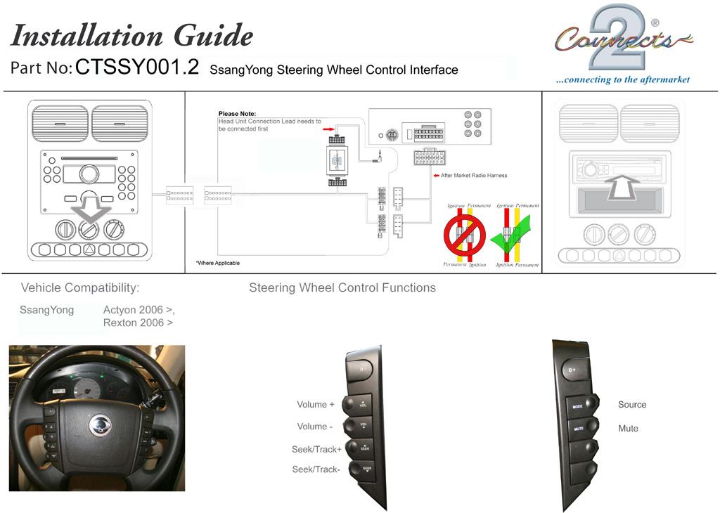 Connects2 CTSSY001.2 Controles Del Volante Adaptador para Ssangyong Rodius