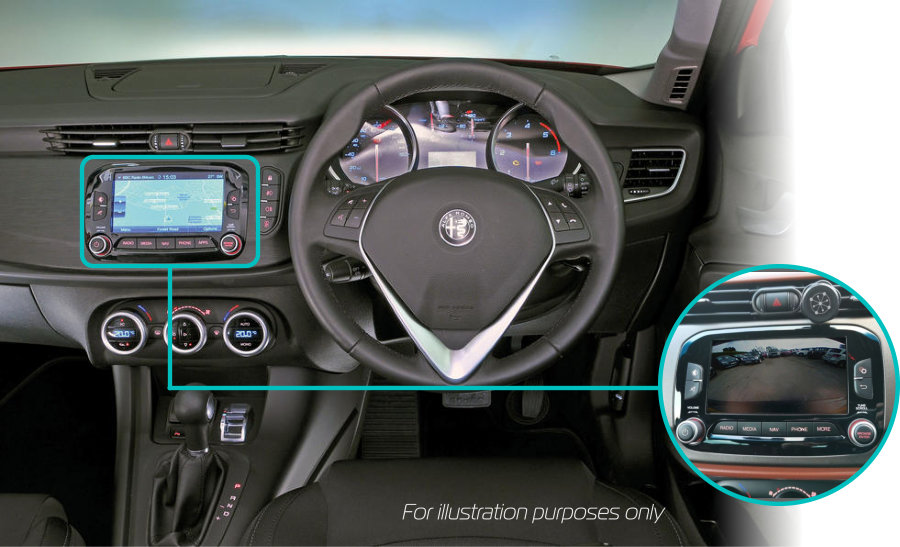 Alfa-romeo-giulietta-rear-view-reversing-camera-retrofit-kit-solution-uconnect-6-dash