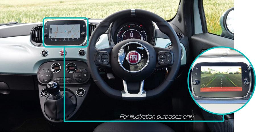 Fiat-500-rear-view-reversing-camera-retrofit-kit-solution-dash