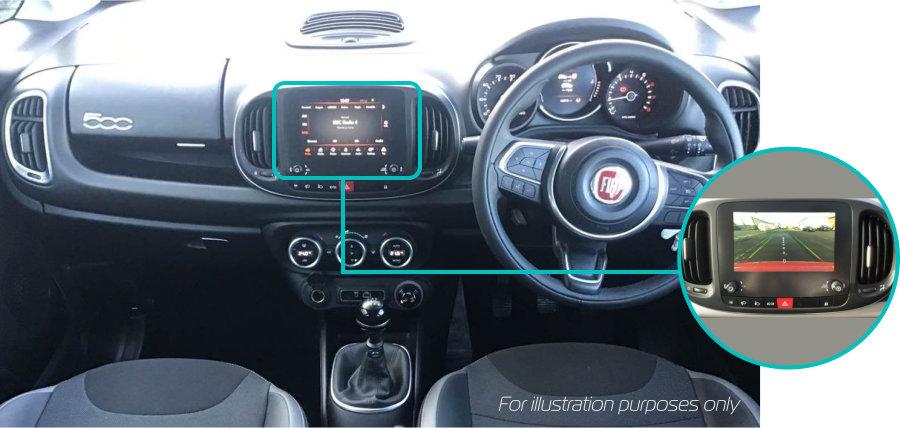 Fiat-500l-rear-view-reversing-camera-retrofit-kit-solution-dash
