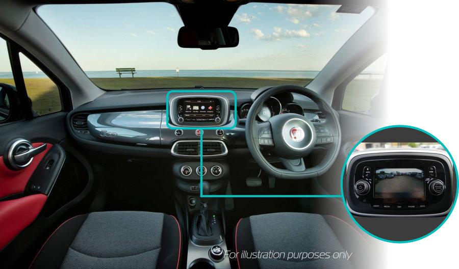 fiat-500x-rear-view-reversing-camera-retrofit-kit-solution-uconnect-6-dash