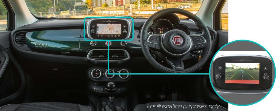 Fiat-500x-rear-view-reversing-camera-retrofit-kit-solution-dash