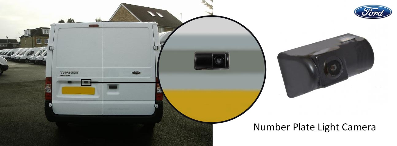 Ford Transit reversing rear view number plate light camera