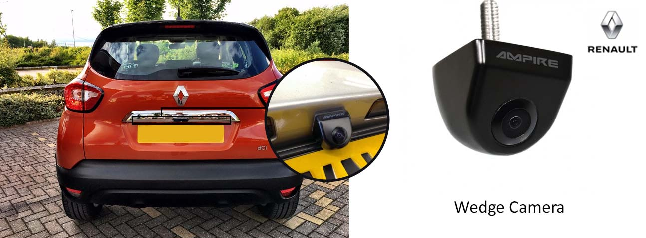 Captur reversing rear view wedge camera
