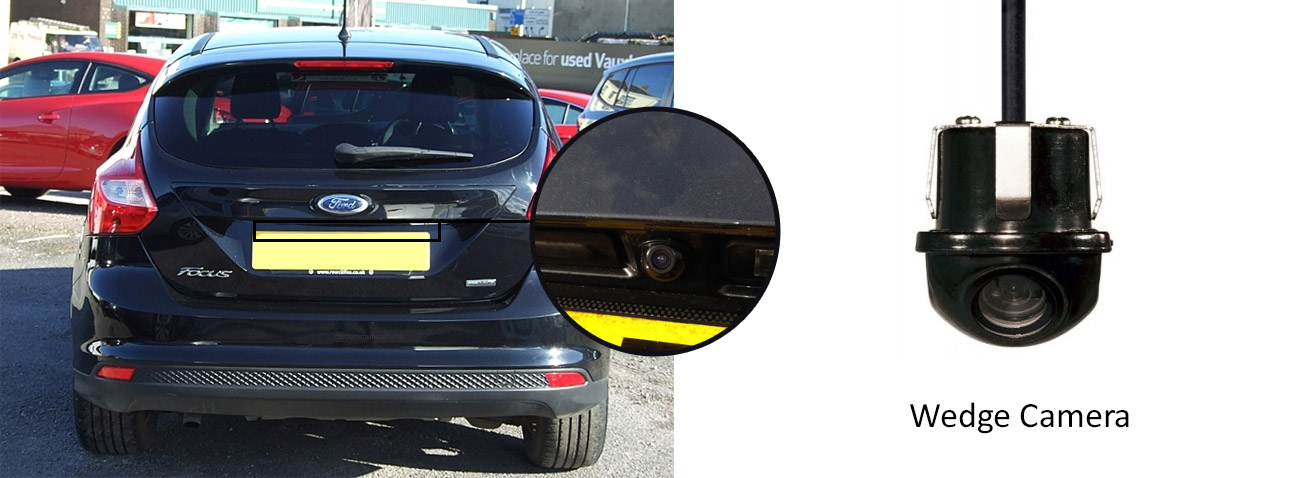 Reversing rear view wedge camera