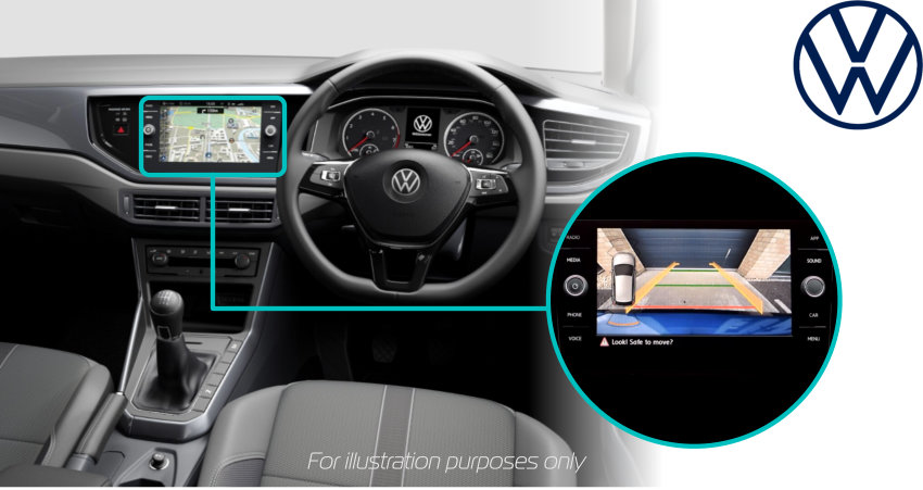 Volkswagen-polo-2021-retrofit-reversing-rear-view-camera-kit-solution-screen