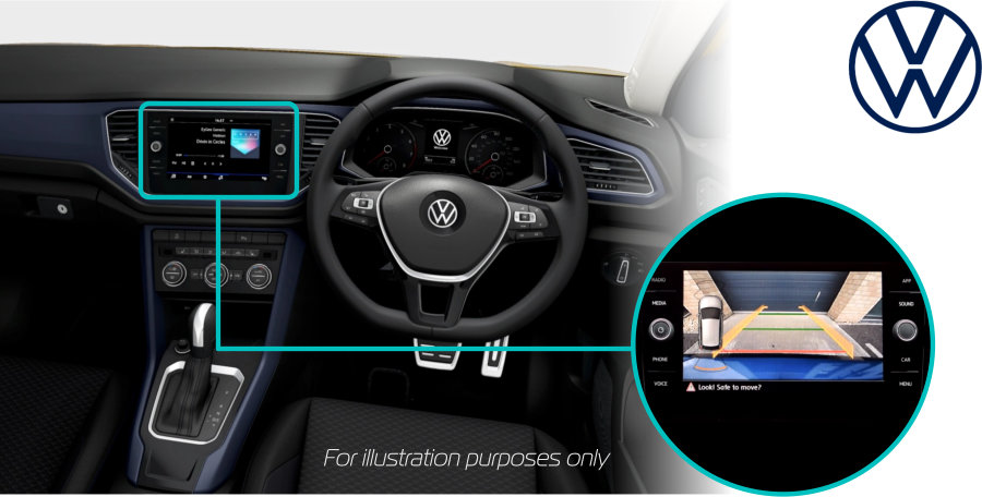 Volkswagen-T-ROC-2021-retrofit-reversing-rear-view-camera-kit-solution-screen