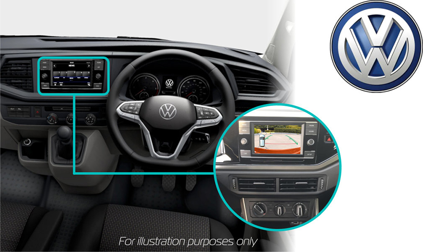 Volkswagen-Transporer-6-retrofit-rear-view-camera-sceen