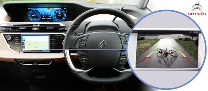 Citroen C4 Picasso Reversing Rear View Camera Kit With Guidelines